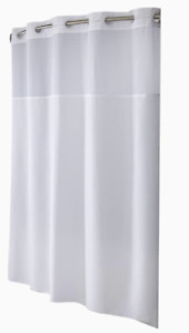 Hookless Shower Curtain w/ Window White Mini-Squares Weave Wyndham 71X77""