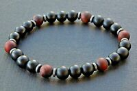 Spiritual Beads Men's Bracelet 8mm Black Onyx and Matte Red Tiger's Eye