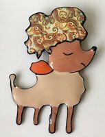 Vintage Style large Poodle  Dog Brooch In enamel on metal