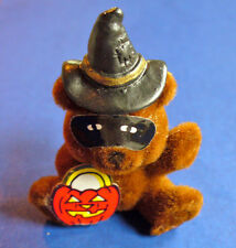 BUY1&GET1@50%~World Trend PIN Halloween BEAR WITCH w JOL Pumpkin FLOCKED Vtg