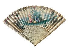 Éventail Gouache Paysage et Personnages Bergères XVIII ème Antique Fan Ventaglio