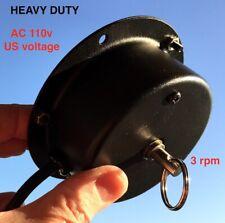 CEILING TURNER and DJ DISCO BALL MOTOR, 110v AC Plug-in Heavy Duty, 3 RPM Quiet