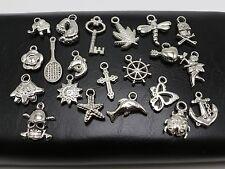 100 Assorted Silver Tone Metallic Acrylic Charm Pendants Flower Key Anchor ect