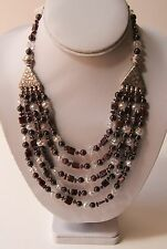 Moroccan Berber Red & Clear Beads Metalwork Tribal Necklace
