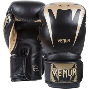 Venum Giant 3.0 Nappa Leather Hook and Loop Boxing Gloves - Black/Gold