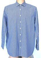 "Charles Tyrwhitt Shirt Mens Blue Grey White Check L/Sleeve 17"" Pit to Pit 25"""