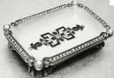 DELUXE JEWELLED METAL CREAM ENAMEL  TRINKET AZTEC DISH 8X5CM BOXED