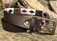 HANDMADE POLO BELT EMBROIDERED POLO BELTS ARGENTINA STRONG RIDING MEDIUM / LARGE