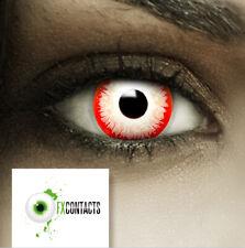 """Farbige Kontaktlinsen rot weiß """"Zombie Clown"""" + Behälter Halloween Linsen Fun"""