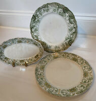 Lovely T&R Boote Waterloo Potteries Laurel And Emerald Trio Of Antique Dishes