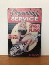 Retro Vintage Tin Metal Sign Plaque Girl Dependable Service Spark Plugs Mechanic