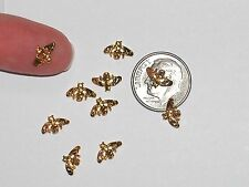 2pc Miniature dollhouse super tiny little Gold plated nail Bee bug charm 6mm