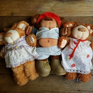 BULK LOT (3) Vintage 1985 Furskins Bear Xavier Roberts Three Bears CPK Preowned