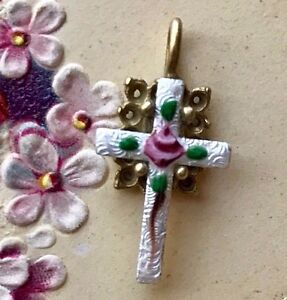 Sterling Cross Charm Guilloche Enamel Rose Hand Painted Flower NOS #218A