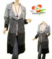 Danie Vocal Black Wool Chunky Tweed Cable Knit Long Cardigan Sweater Coat S M L