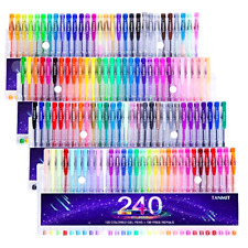 Gel Pens Set 240 Pcs for Adults Coloring Books Drawing Art Markers 120 Colors