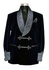 Men Elegant Luxury Stylish Designer Navy Blue Smoking Jacket Party Wear Blazers