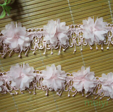 10pcs Flower Pink Fringe Chiffon Lace Edge Trim Tassel Wedding Ribbon Sewing DIY