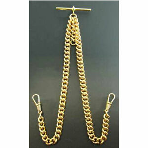 Stunning Double Albert Gold Plated 9ct Pocket Watch Chain Heavy High Quality.