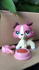 Littlest Pet Shop LPS Collection Collie Dogs 1262 different eyes &two pink bowl