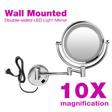 """8.5"""" LED Stand Double-Sided 360° Swivel 10x Magnification Cosmetic Makeup Mirror"""
