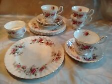 Royal Albert Lavender Rose Bone China - 4 Kaffeegedecke mit Zuckerdose