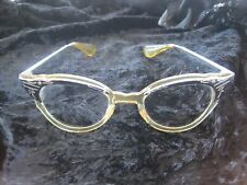 Chrome Accent Plastic Cat Eye Glasses Vintage