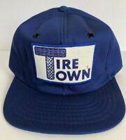 Vintage Hat Tire Town Trucker Hat Foam Baseball Cap Snapback Blue Logo Patch