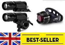 two front + rear led lights set - bright torch lamp white light bike zoom flash