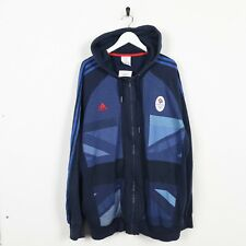 Vintage ADIDAS Team GB Front Logo Zip Up Hoodie Sweatshirt Blue XL