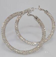 Stunning 2 inch 13.50 Carat Diamond Pave Hoop Earrings in 14K WG