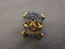 Skull w/ Blue Rhinestone Spacer Beads 1pc