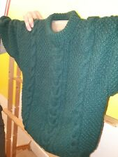 Green Cable Knit Chunky Hand Knitted Jumper size small Vintage style