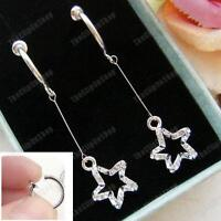 "CLIP ON 2""long CRYSTAL DANGLE STAR EARRINGS diamante SILVER PLATED hoop clips"