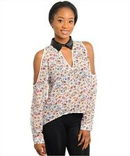 NEW! Sexy & Sheer IVORY Print TOP w/ OPEN Shoulder DESIGN ~ SMALL / Bust to 34""