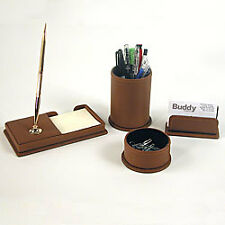 sNEW BUDDY 9247-27 BROWN LEATHER PEN STAND MILANO COLL.