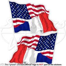 USA Uni Unis Amérique & FRANCE  Vol Drapeau 75mm Autocollants x2
