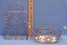 Metal Basket Small Wire Silver Tone Heart Daisy Flower Double Handle Lot of 2