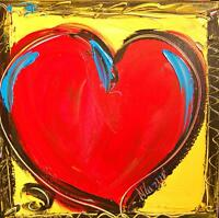 MARK KAZAV  -  HEARTS  ORIGINAL OIL Painting  Stretched   IMPRESSIONIST 54G8Yasc