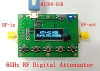 New OLED 6G Digital Programmable Attenuator 30DB step 0.25 RF Module + Micro USB