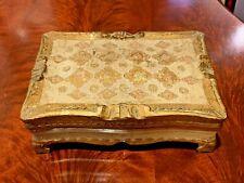 Vintage Italian FlorentineTole Gilt Wood Rectangular footed Trinket/Jewelry Box