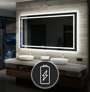 Illuminated Bathroom Mirror with Backlit LED Lights Wall Mounted Battery Powered