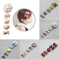 5Pcs/set Hairpin Baby Girl Hair Clip Bow Flower Mini Barrettes Kids Infant Cute