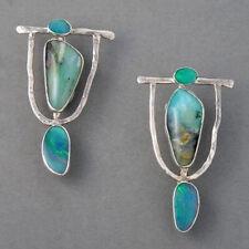 Women 925Silver Turquoise Gemstone Hoop Dangle Earrings Wedding Birthday Jewelry