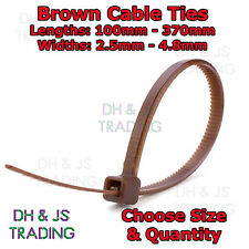 Brown Cable Ties Various Sizes & Quantities Plastic Nylon Tie Wraps Zip Tie