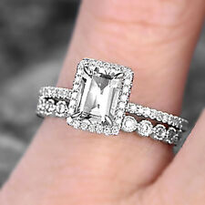 1 Ct Emerald Diamond Solitaire Halo Bridal Engagement Ring Set Sterling Silver
