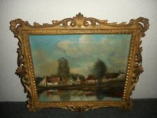 Old oil painting,{ Village with houses & church near the water, great frame! }.
