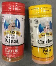 Lot of 2 Chef Merito steak Asada Meat & Chicken pollo asado Seasoning 14 oz ea