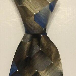 VAN HEUSEN Mens Silk Blend Necktie Designer Geometric Taupe/Blue/Gray NWT $45