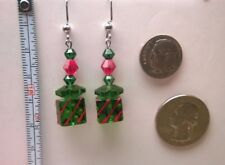 Red & Green Glass beads for Christmas earrings with a package look.
